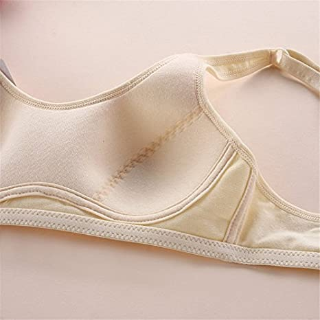MANJIAMEI Puberty Growing Young Girls Soft Touch Cotton Training Bra with Two Hooks