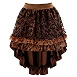 Charmian Women's Steampunk Retro Gothic Vintage Satin High Low Skirt with Zipper 9