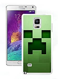 High Quality Note 4 Case,Minecraft Background Graphics Green White Samsung Galaxy Note 4 Screen Phone Case Unique and Fashion Design