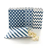 Navy Blue Candy Buffet Bags / Wedding Favor Paper Goodie Bags (100 Pack) - Dark Blue Stripe, Chevron, Spanish Tile & Polka Dot Party Bags