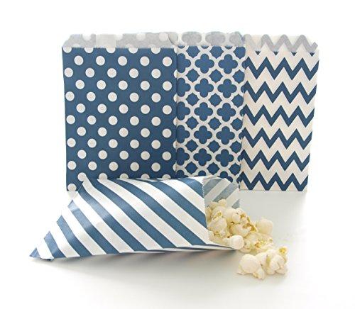 Navy Blue Candy Buffet Bags / Wedding Favor Paper Goodie Bags (100 Pack) - Dark Blue Stripe, Chevron, Spanish Tile & Polka Dot Party Bags - Graduation Candy Bar