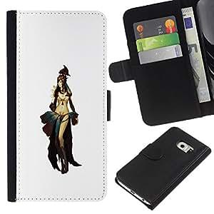 NEECELL GIFT forCITY // Billetera de cuero Caso Cubierta de protección Carcasa / Leather Wallet Case for Samsung Galaxy S6 EDGE // Asia Oriental Princesa Guerrera