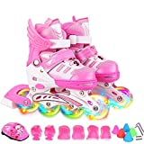 ZCRFY Inline Skates Girls Adjustable Size Roller Skates Blades Childrens Adults Kids Boys Breathable Rollerblades For Beginners Toddlers Child Flash Shoes Roller Set,Pink-S