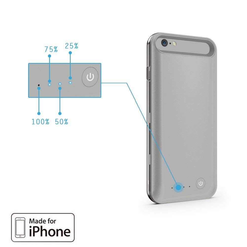 Niubity 4000mAh Charger Case for iPhone 6 Plus/ 6s Plus Portable Protective Charging Case iPhone 6 6s Plus(5.5 inch) Extended Battery Charger