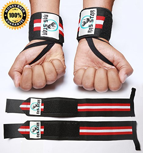 [Weightlifting Wrist Wraps For Powerlifting- Both for men & Women - High Elasticity Polyester Material Wrist Straps - Measures 17