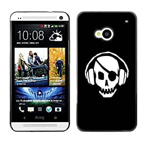 "For HTC One ( M7 ) , S-type Pirata del cráneo del golpe"" - Arte & diseño plástico duro Fundas Cover Cubre Hard Case Cover"