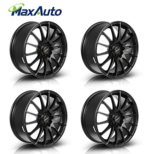 MaxAuto 4 pcs 17x7, 5x114.3, 73.1, 45, Matte Black Finish Rims Alloy Wheels compatible w/ 1986-2017 Toyota Camry 1998-2002 2005-2011 2014 2017 Honda Accord 2003-2017 Toyota Corolla 04-17 Honda Civic
