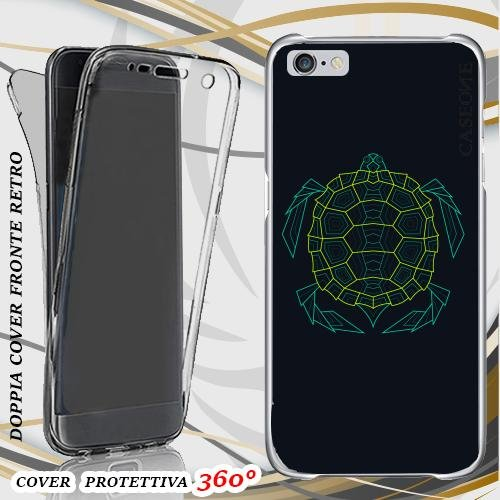 CUSTODIA COVER CASE TURTLE ABSTRACT GREEN PER IPHONE 6 FRONT BACK