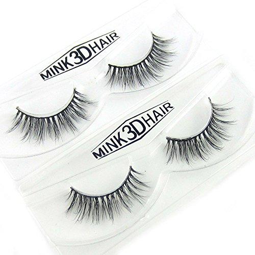 2Pairs/Lot 100% Real Mink Fur 3D False Eyelashes Messy Cross Thick Fake Eyelashes No Adhesive (A17x2)