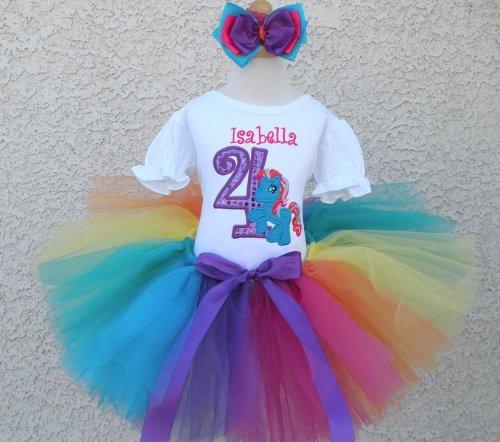 ddaea2ad07b3f Amazon.com: Rainbow Dash Pony Birthday Tutu Outfit: Clothing