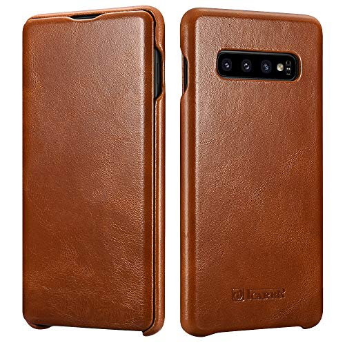 ICARER Phone Case Fit for Samsung S10 Plus Leather Case (2019),Genuine Leather Case Flip Folio Opening Protective Cover, Slim Side Open Case Compatible for Galaxy S10 Plus Slim Case 6.4 inch (Brown)