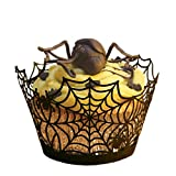 Paper Orchid Spider Web Cupcake Wrapper Black, Set of 12