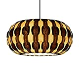 Handmade Drum Pendant Light, made of maple & walnut wood veneer,a beautiful pendant for dining room and bedroom, unique design pendant lighting, hanging lamp, ceiling lamp,home