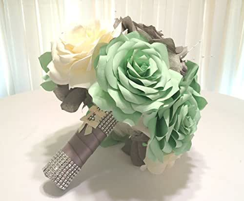 Mint green grey and ivory handmade paper rose for Different color roses bouquet