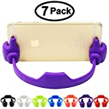 7 Pack, Cell Phone Tablet Holder, Honsky® Thumbs Up Multi-angle Cute TPU Plastic Universal Flexible Phone Tablet Bed Desk Stand for Kitchen, Office, Bedroom, Bathroom, for Apple iPad Mini 4 3 2 iPhone 6/6S Plus 6+ 5C 5/5S, 4/4S ?Samsung Galaxy S 7 Edge S 6 Edge Note 5 4 S 5, LG G3 G4 V10, Microsoft Nokia Lumia 950 830, HTC One M9 M8 Desire 816, Sony Xperia Z3 Compact, Motorola Moto G Nexus 6 Google Nexus 6P OnePlus 2 Blackberry ¨C Blue, Light Red, Black, White, Green, Purple, Deep Red Color