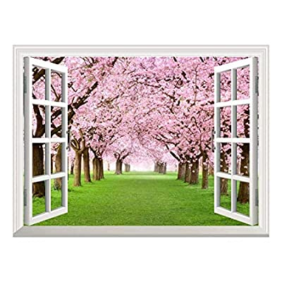 Removable Wall Sticker/Wall Mural - Cherry Blossom View Out of The Open Window Creative Wall Decor - 24