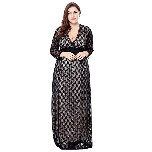 [Hemons Plus Size Womens Dress Deep V-Neck Hollow Lace Dress (XXXL, Beige)] (Plus Size Fancy Dress Uk)