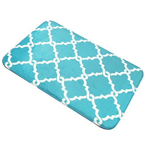Bath Mat, U'Artlines Comfort Extra Thick Memory Foam Bath Mat Set Bathroom Mats Shower Rugs with Sbr Back and Flannel Surface (17.7x47.3, Blue) by U'Artlines (Image #8)