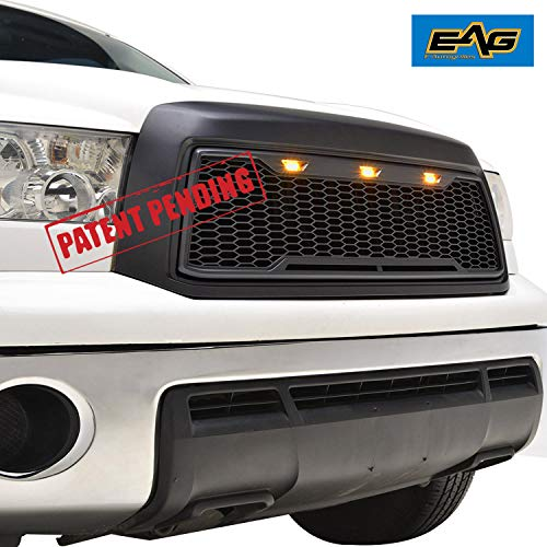 EAG Replacement Upper Grille Front Grill with Amber LED Lights Fit for 10-13 Toyota Tundra - Matte Black ()