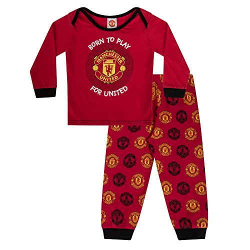Manchester United FC Official Soccer Gift Boys Kids Baby Pajamas 18-24 Months Red