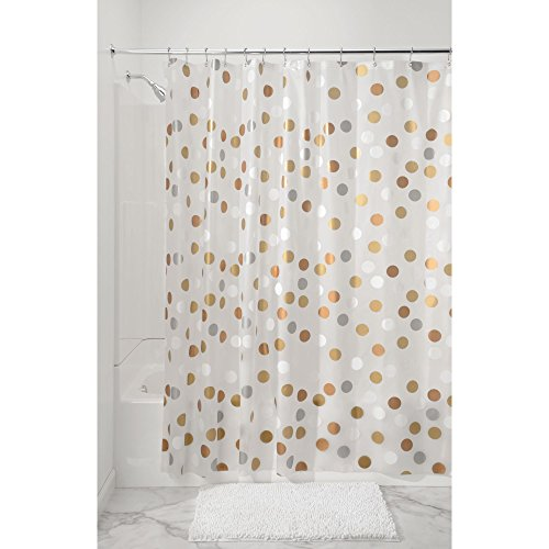 mDesign Metallic Dot PEVA Shower Curtain, Mold and Mildew Resistant, Water Repellent - 72'' x 72'', Silver/Gold/Frost by mDesign