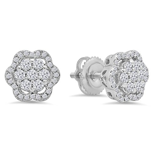 Dazzlingrock Collection 0.45 Carat (ctw) 10k Round White Diamond Ladies Fashion Cluster Style Stud Earrings, White Gold