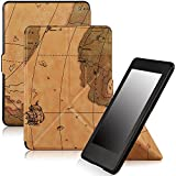 Famavala Shell Case Cover with Auto Wake/Sleep for Amazon Kindle Paperwhite (Fits versions: 2012, 2013, 2014 and 2015 New 300 PPI) (MapBrown)