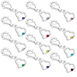 jewellerybox Sterling Silver & CZ Crystal Birthstone Heart Clip on Charm