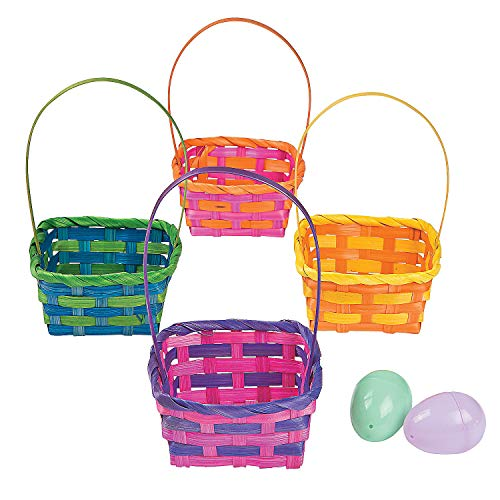 Fun Express - Sq Bamboo Multi Color Baskets for Easter - Party Supplies - Containers & Boxes - Misc Containers & Boxes - Easter - 12 - Basket Easter Oriental
