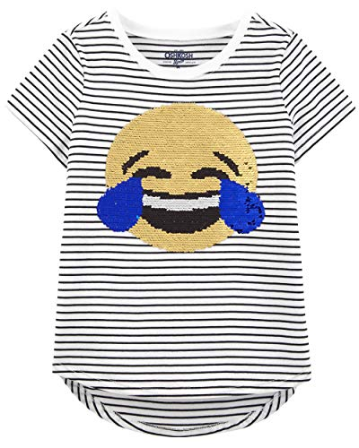 Osh Kosh Girls' Little Sequin Short-Sleeve T-Shirt, Emojis, 6-6X -