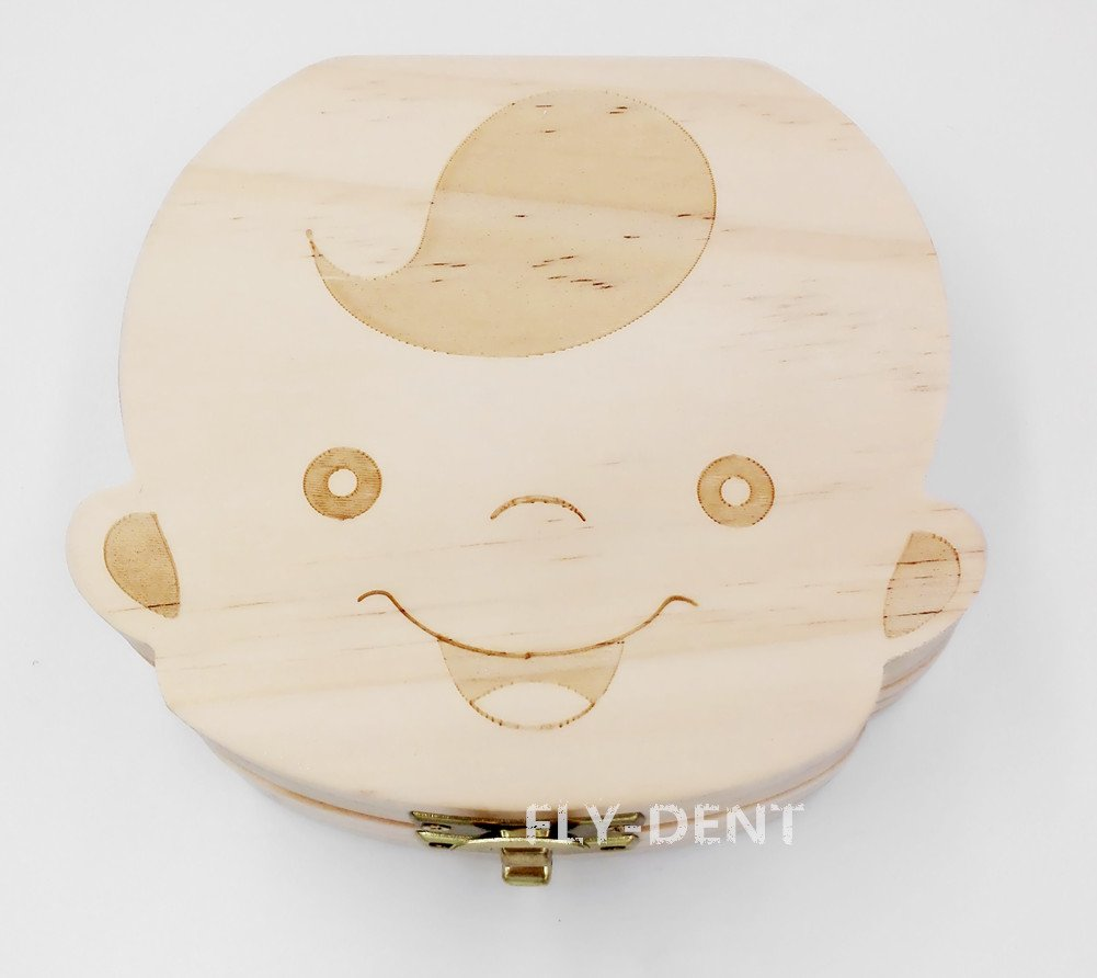 Wood Boy Shape Baby Teeth Box English Version 1Pc by fly-dent (Image #4)