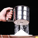 Flour Sifter - Mechanical Flour Sifter Stainless Steel Baking Pastry Sugar Shaker 1pc Icing Cup Shape - Dishwasher Craft Design For Norpro Sieve Sugar Tray Set By