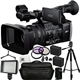 Sony FDR-AX1E Digital 4K Video Camera Recorder 13PC Bundle. Includes 2 Replacement F970 Batteries + AC/DC Rapid Home & Travel Charger + 3PC Filter Kit (UV-CPL-FLD) + Full Size Tripod + MORE