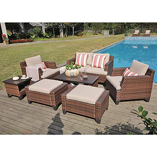 SUNSITT Outdoor Furniture Set 8-Piece Patio Lounge Chair Sofa with Ottoman & Loveseat Brown Wicker Neutral Beige Cushions, Coffee Table & Side Table w/Aluminum Top (Garden Furniture Synthetic Rattan)