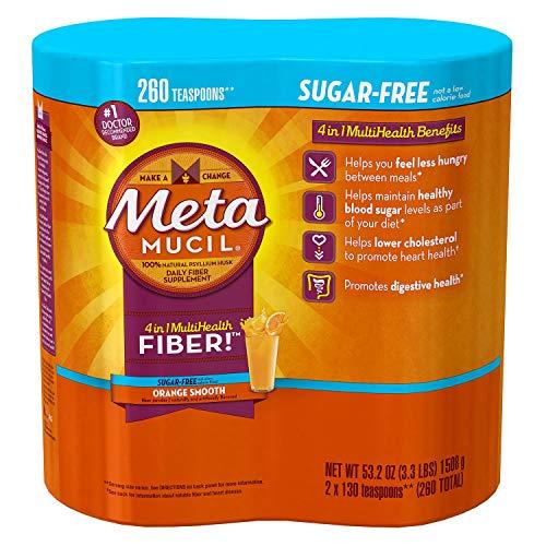 Metamucil Sugar Free, Orange Smooth - 53.2 oz Bottle (Pack of 2-260 doses)