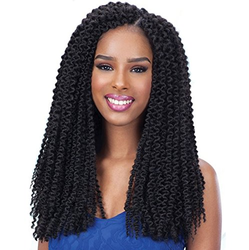 Absolute Black Color - Freetress Equal 3X Pre-Loop Crochet Braid Island Twist 16