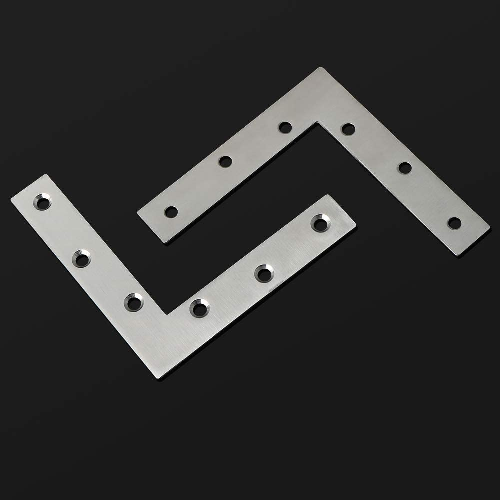 Stainless Steel Brushed Finished EJ7120L-8P SAYAYO Flat L Shape Repair Mending Plate Joint Bracket Support Brace 120mm* 120mm 8 Pcs