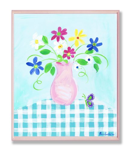 The Kids Room by Stupell Pink Vase With Flowers and Butterflies on Blue Gingham Tablecloth Rectangle Wall (Butterfly Flower Vase)