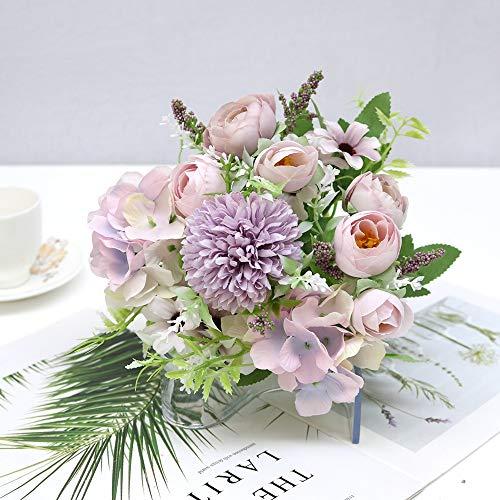 tianluo Flores Artificiales 7 Cabezas De Flores De Hortensia Ramo Artificial De Seda Floreciente Peonia Falsa Mano Nupcial Flor Rosas Centros De Mesa De La Boda Decoracion