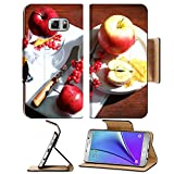 MSD Premium Samsung Galaxy Note 5 Flip Pu Leather Wallet Case Composition with apples and candle on napkin wooden background Note5 Image ID 23886859