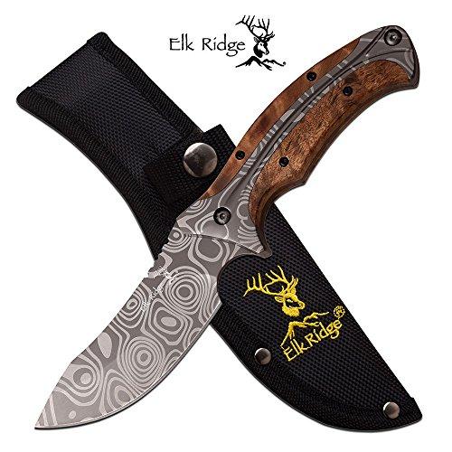 "Elk Ridge ER-560WD 3mm Damascus Fixed Blade Knife, Maple Wood, 8.75"""