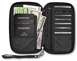 RFID Travel Passport & Document Organizer Zipper Case Black
