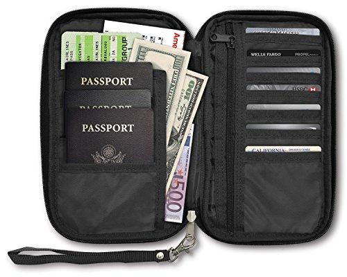 RFID Travel Passport & Document Organizer Zipper Case , Black