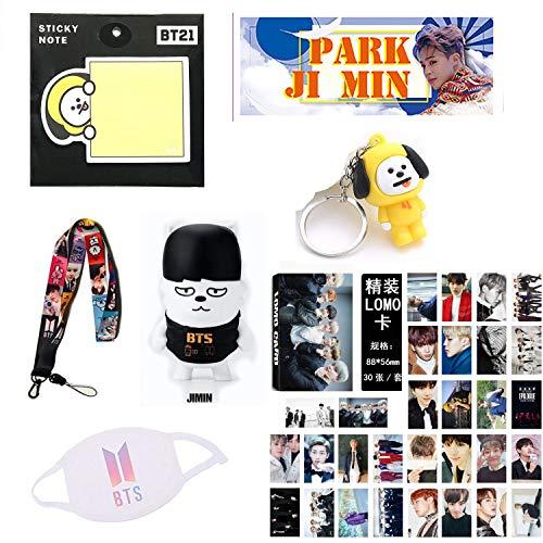 IMH BTS Bangtan Boys Gift Set for Army - Jimin - Sticky Note, Lomo Card Set, Mask, Keyring, Lanyard, Banner