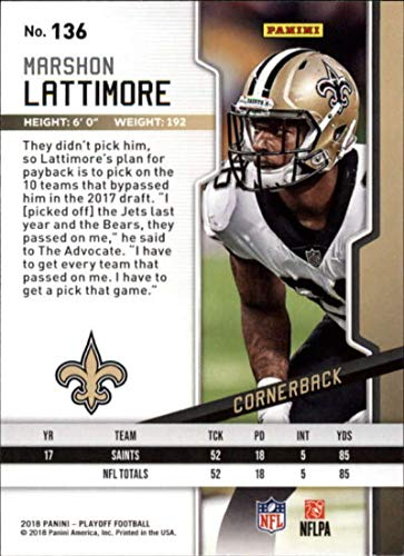 Amazon.com  2018 Panini Playoff  136 Marshon Lattimore New Orleans Saints  NFL Football Trading Card  Collectibles   Fine Art 0b0a2cf95