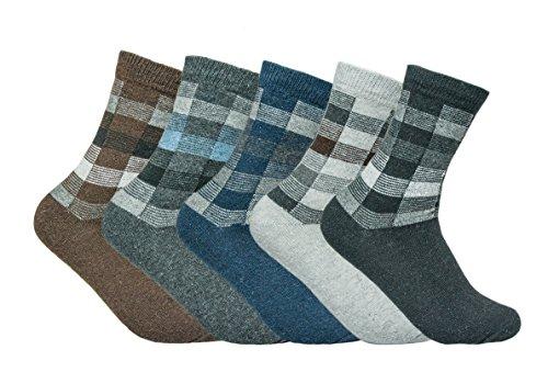 Vipo Men's Colorful Patterned Dress Socks Size 10-13, 5 Pack Men's Mixed Color Vintage Quarter Warm Winter Socks (S022)
