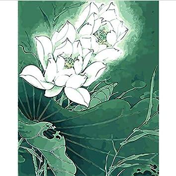 Coloriage Fleur De Nenuphar.Hllcy Blanc Lotus Fleur Peinture A L Huile Peinture Image