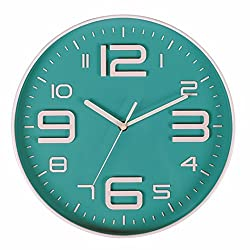 Filly Wink Modern Wall Clock Non Ticking Sweep Movement 3D Number Easy to Read Indoor Kitchen,Office 10 Inch Turquoise