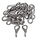 Yibuy 20pcs 304 Stainless Steel Spring Loaded Fixed Eye Boat Snap Hook 0# Silver