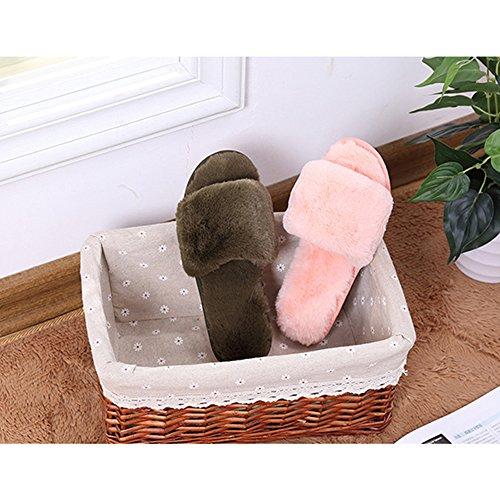 Peluche Bambin Femmes Confortable Fuyingda Pantoufles Filles Pantoufles Bebe Chaud Hiver Bout Chaussures Coton Chaussons amp; Ouvert Rose Hiver qqOgvxwH